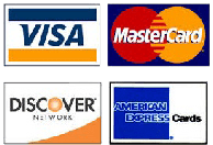 We accept American Express, Discover, MasterCard, Visa, Check, or Money Order.